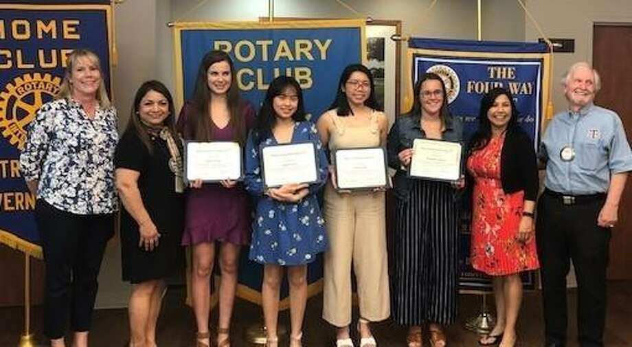 The Rotary Club of Richmond awarded scholarships to six high school students from Foster and Lamar Consolidated High Schools. The 2019 scholarship recipients pictured with the Rotary Scholarship Committee are, from, left: Sussan Martinez, Nina Rivera, Haley Etzler, Kristi Tran, Katie Tran, Elizabeth Anders, Priscilla Salas and John Cotterell. Not pictured are recipients Taylor Phung and Sonali Puri, and committee members Karen Bell and John Riccardi. Photo: Rotary Club Of Richmond / Rotary Club Of Richmond