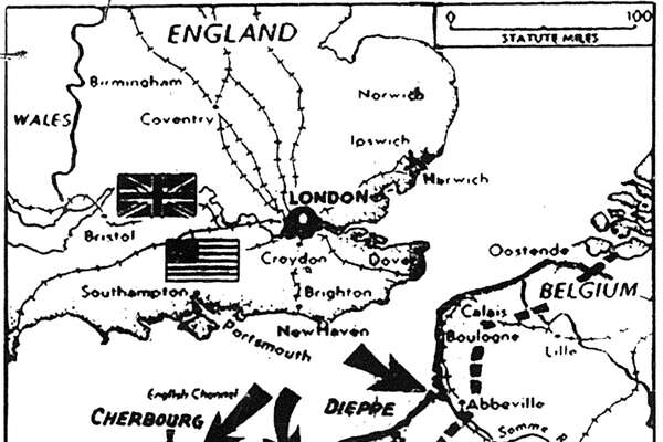 Image for the story Allied Losses Are Light In First Phases of Invasion - Beachheads Won at Many Points (As it appeared in the Houston Chronicle, Vol. 43 No. 237 Houston, Texas, Tuesday, June 6, 1944)