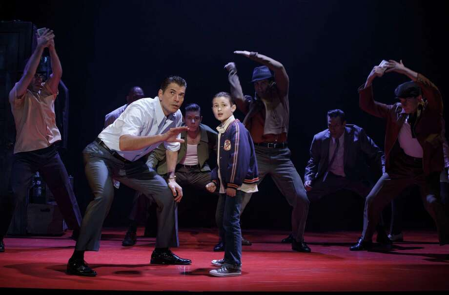 "The national tour of ""A Bronx Tale,"" the new musical with book by Academy Award-nominee Chazz Palminteri, is coming to the Shubert Theatre in New Haven, June 26-30. Joe Barbara (Sonny) and Frankie Leoni (Young C) are seen here with the company of ""A Bronx Tale."" Photo: Joan Marcus / Contributed Photo"