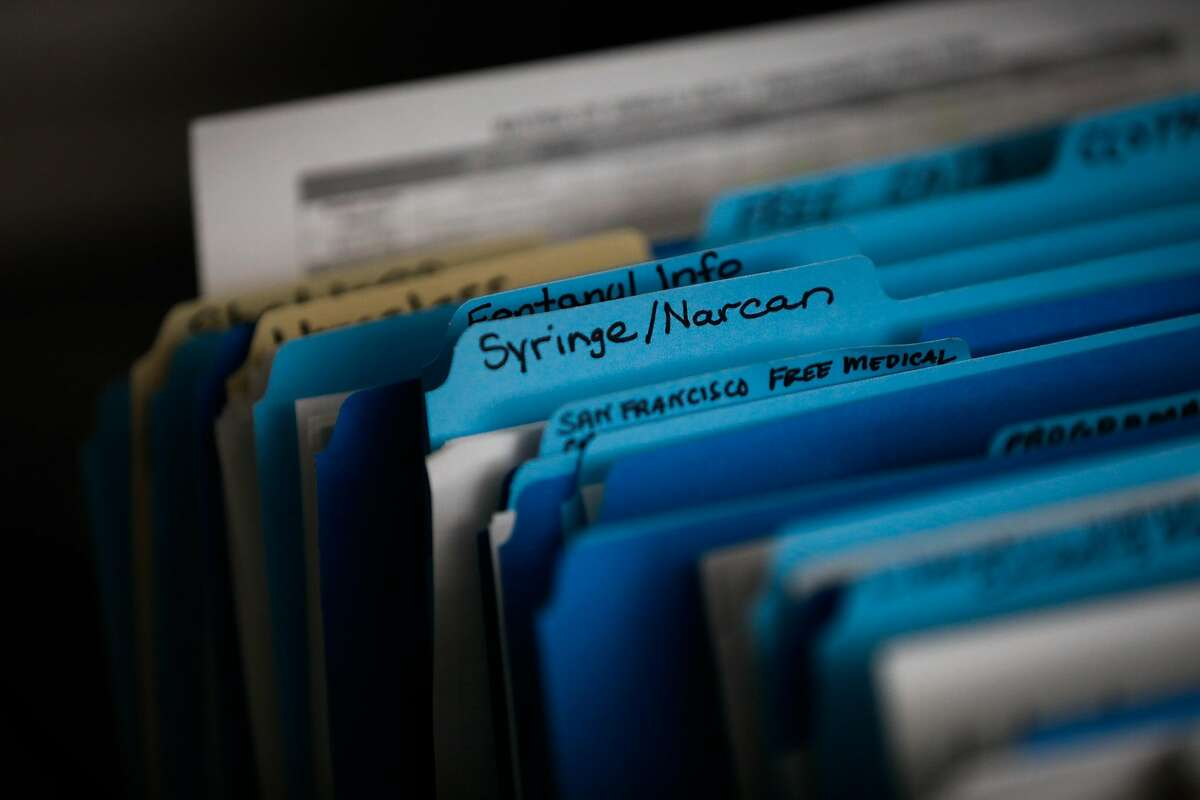 Files are seen at the Dore Urgent Care clinic which is a crisis drop-in center for mental health needs in San Francisco, California, on Monday, June 10, 2019. Supervisors Matt Haney and Hillary Ronen have proposed a sweeping ballot measure to overhaul the city's mental health care system.
