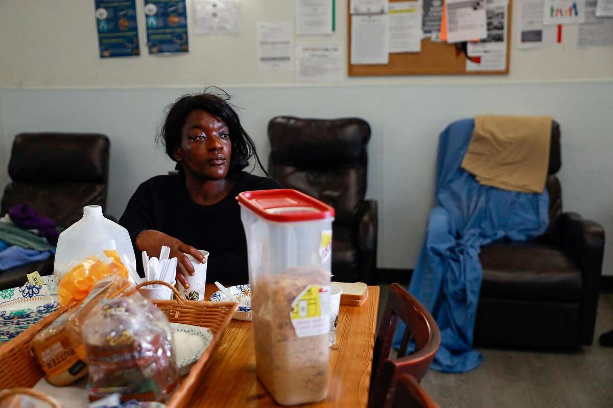 Breanna Blueford eats breakfast at the Dore Urgent Care clinic which is a crisis drop-in center for mental health needs in San Francisco, California, on Monday, June 10, 2019. Supervisors Matt Haney and Hillary Ronen have proposed a sweeping ballot measure to overhaul the city's mental health care system.