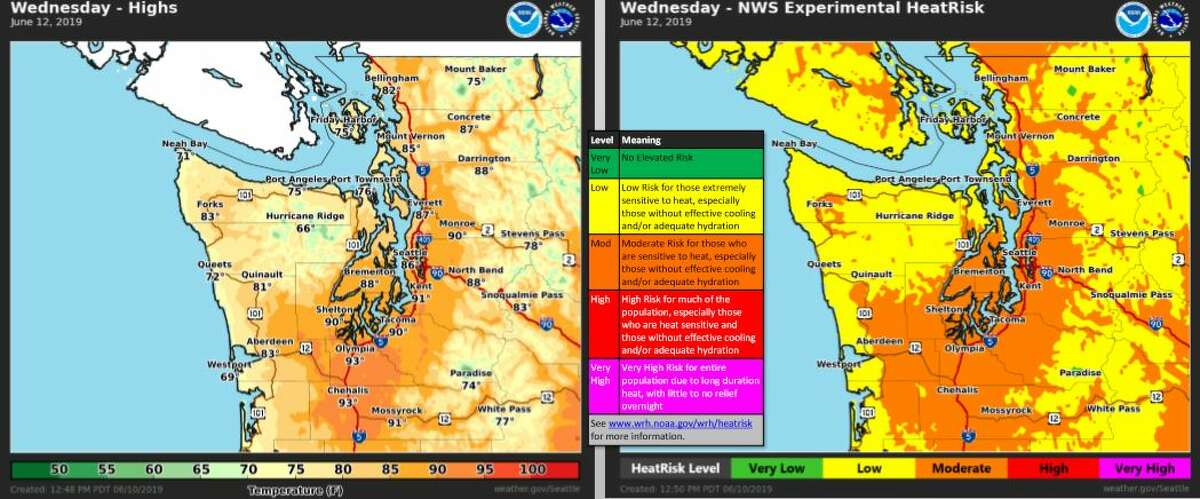 High temperatures and heat risk forecast for Wednesday.