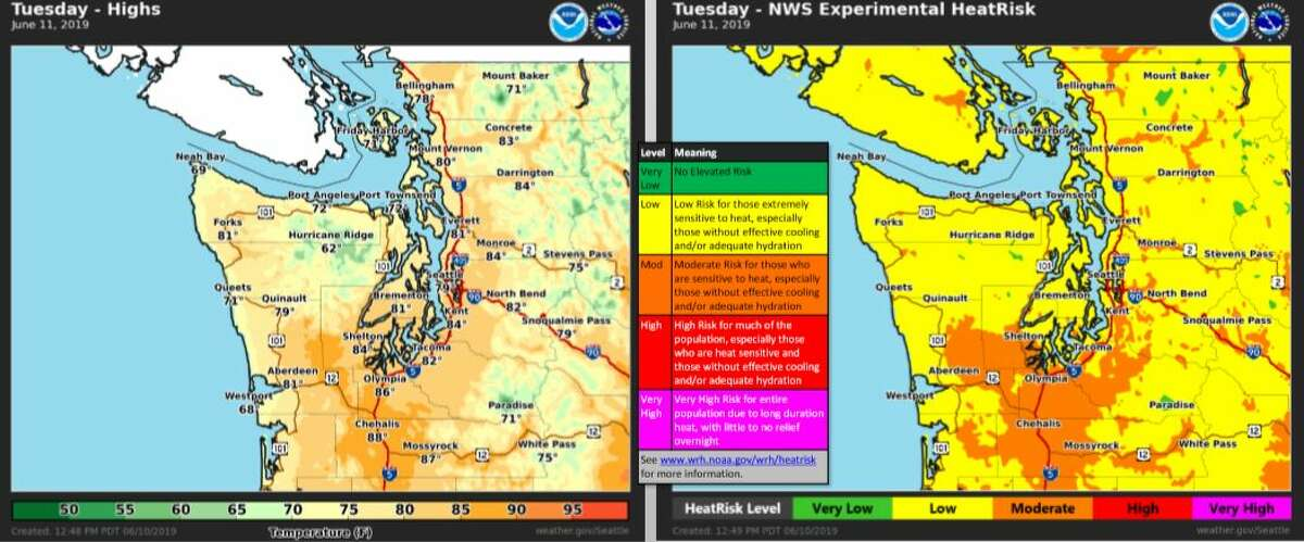 High temperatures and heat risk forecast for Tuesday.
