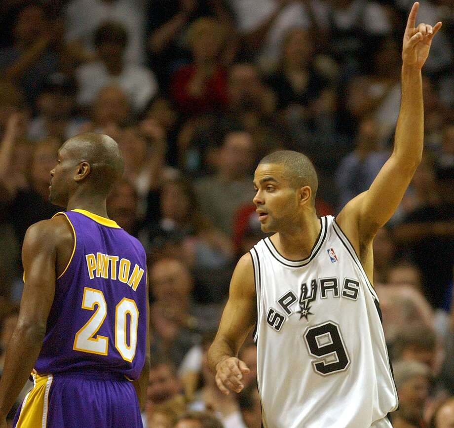 In 2004, Gary Payton was still considered the best and toughest and meanest defensive point guard in the NBA. He had joined the Spurs' nemesis, the Los Angeles Lakers. For two games to start the Western Conference semifinals, a 21-year-old Parker ate Payton alive. Parker went for 20 points in the Spurs' series-opening win, and followed that with 30 in Game 2. His explosion wasn't completely out of the blue. A season before, Parker's 27-point game helped the Spurs end the Lakers' three-peat dynasty in the conference semifinals The rest of the 2004 series came one Parker and the Spurs would rather forget. The Lakers tweaked their defense on Parker, limiting him to an average 12.5 the rest of the series. Thanks in part to Derek Fisher's miracle buzzer-beater in Game 5, L.A. went on to win the series in six games. Photo: Billy Calzada /San Antonio Express-News / SAN ANTONIO EXPRESS-NEWS