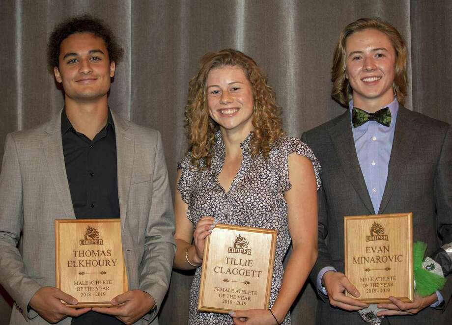 Freshman Tillie Claggett was named Female Athlete of the Year, and senior Evan Minarovic, right, and junior Thomas Elkhoury were named Co-Male Athletes of the Year. Photo: Submitted Photo