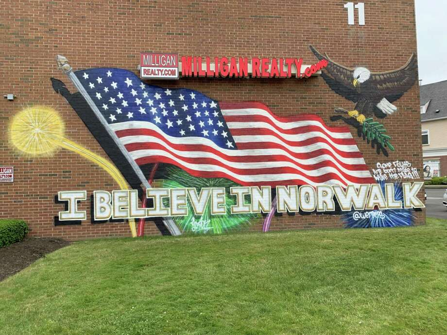 The mural on the side of the building at 11 Belden Ave., done by the local artist Action, June 10, 2019 in Norwalk, Conn. Photo: Justin Papp