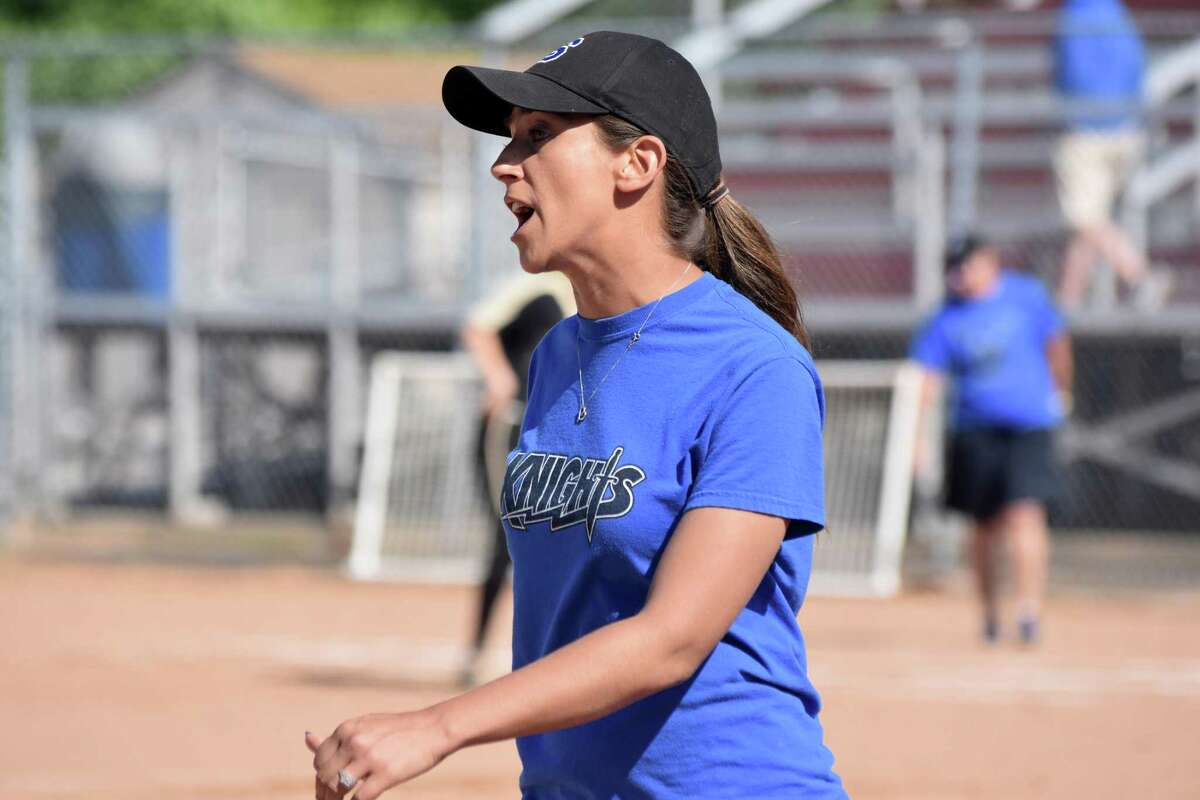 Southington coach Davina Hernandez in the Class LL softball semifinals at DeLuca Field, Stratford on Monday, June 3, 2019. (Pete Paguaga, Hearst Connecticut Media)