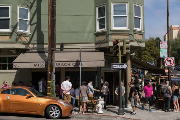 Patrons regularly lined up outside Mission Beach Cafe to wait for brunch.