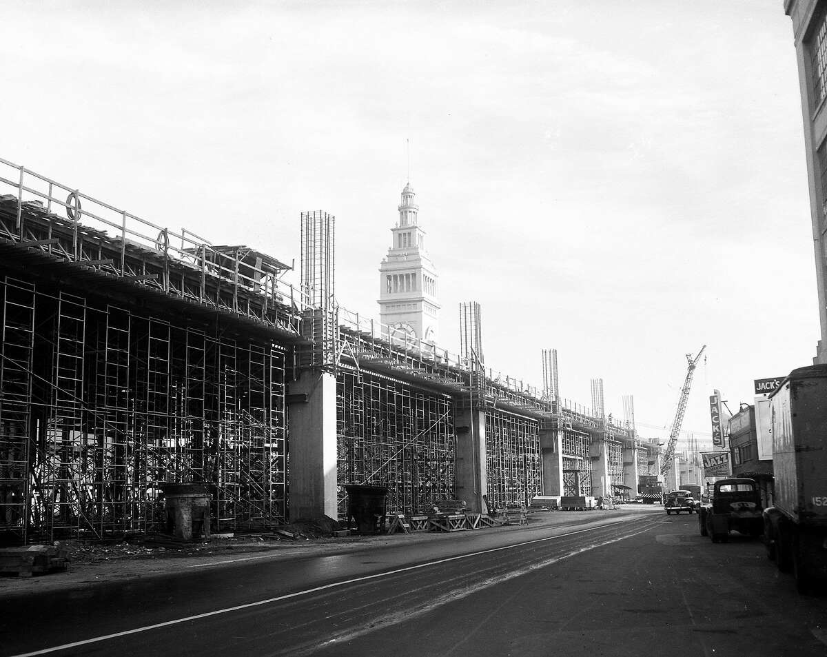 Construction photos of the Embarcadero Freeway taken in January 1958, when the project was a year away from opening.