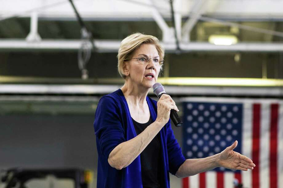 Sen. Elizabeth Warren of Massachusetts, a Democratic candidate for president, speaks at a campaign event in Detroit, Mich., on June 4. Warren's climate plan — as that of other candidates — lacks a crucial ingredient. A carbon tax. Photo: BRITANNY GREESON /NYT / NYTNS