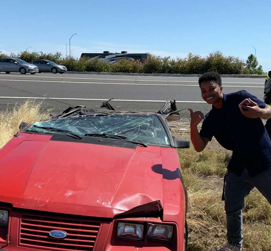 A man is being called lucky after his car was pulled beneath a big rig on I-5 and he survived. Photo: Sacramento Fire Department
