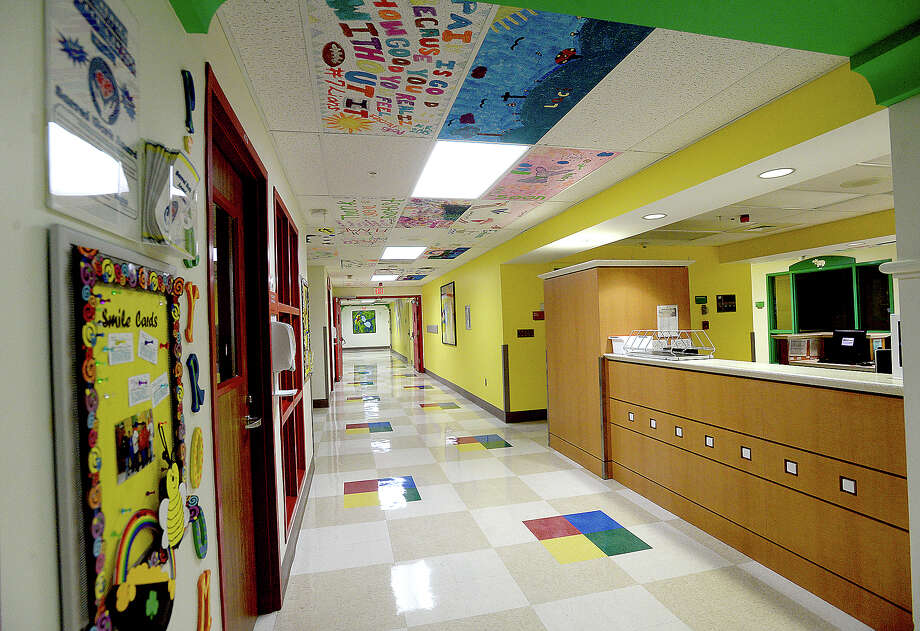 """Colorful ceiling tiles with artwork done by young patients in Baptist Hospital's pediatric unit fill the walkways throughout the facility. The pieces represent the thoughts and hopes of the children whose care requires a longer hospital stay. But they also serve a therapeutic role, making their stay more child-friendly and less scary. The concept, which staff created in 2007, helps Baptist meet its primary goal - """"that care for kids is just the right size,"""" according to Mary Poole, Director of Public Affairs & Marketing. Photo taken Monday, June 10, 2019 Kim Brent/The Enterprise Photo: Kim Brent/The Enterprise"""