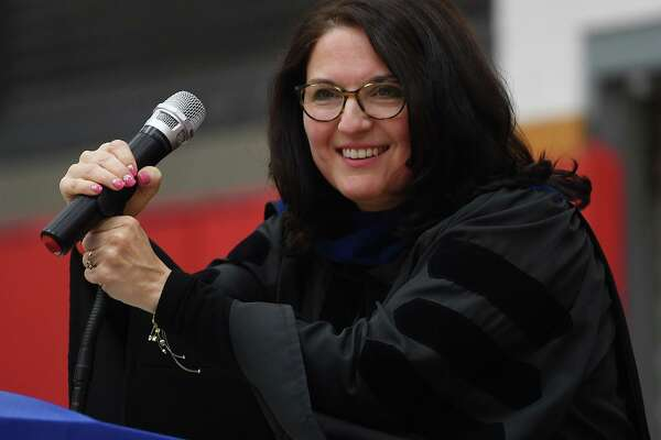 Milford Superintendent of Schools Anna Cutaia speaks at the Foran High School Graduation on June 10, 2019.