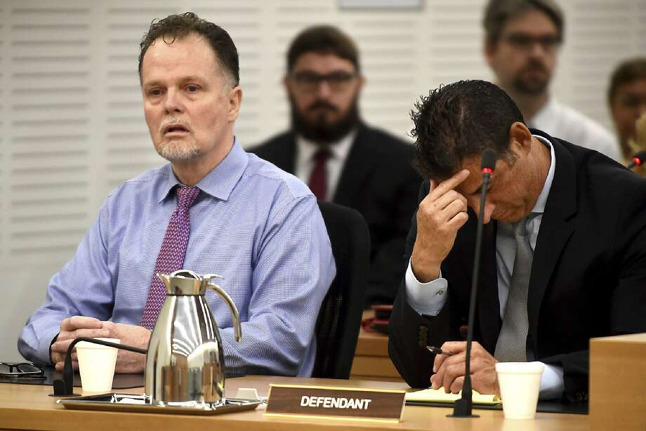 """Charles """"Chase"""" Merritt, left, reacts after being found guilty of four counts of first-degree murder of the McStay family, in court at the San Bernardino Superior Court in San Bernardino, Calif., on Monday, June 10, 2019. Merritt is charged in the bludgeoning deaths of his business associate Joseph McStay, McStay's wife, Summer, and the couple's 3- and 4-year-old sons.  (Jennifer Cappuccio Maher/The Orange County Register via AP, Pool) Photo: Jennifer Cappuccio Maher, Associated Press"""