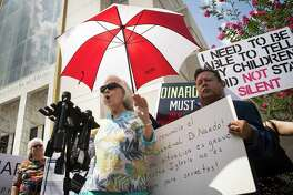 Carol LaBonte, whose son was abused by the priest John Keller, speaks during a press conference held by members of SNAP, the survivors network of those abused by priests, in front of the Co-Cathedral of the Sacred Heart in downtown Houston on Monday, June 10, 2019. LaBonte says that her family took complaints to both Frank Rossi, who was Monsignor of their church at the time, and Bishop Joseph Fiorenza.