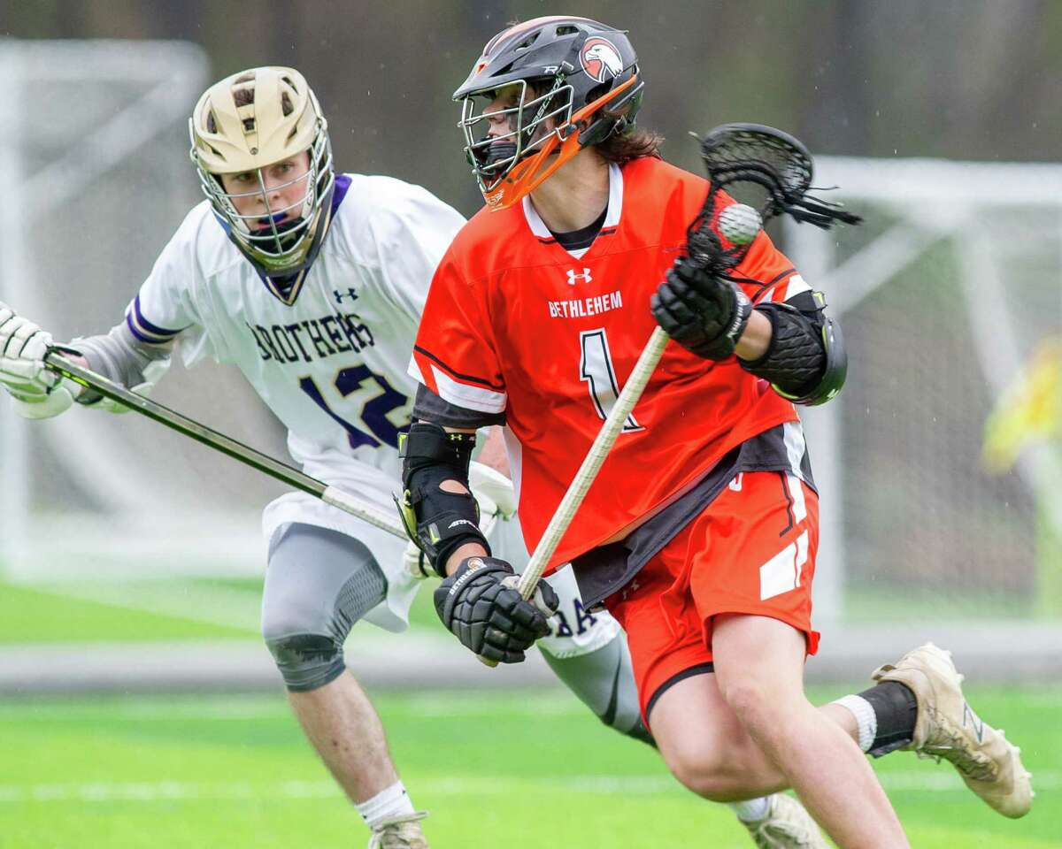 Bethlehem attacker Liam Ferris during a Suburban Council lacrosse matchup against CBA at Afrim?s Sports Park in Colonie on Friday, May 3, 2019 (Jim Franco/Special to the Times Union.)