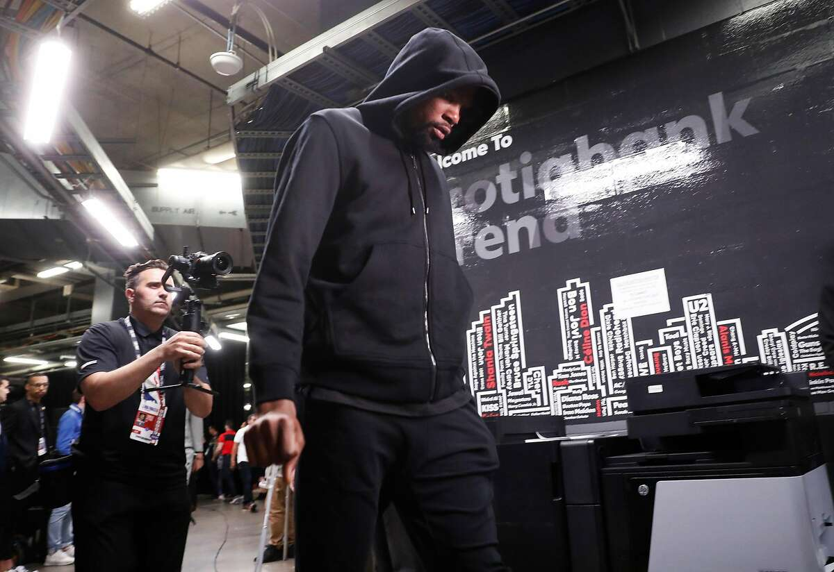 Golden State Warriors' Kevin Durant arrives before playing Toronto Raptors in NBA Finals' Game 5 at Scotiabank Arena in Toronto, Ontario, on Monday, June 10, 2019.