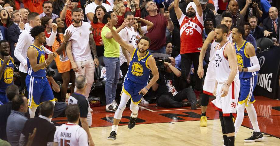 Golden State Warriors' Stephen Curry (30) celebrates at the final buzzer as his team defeated the Toronto Raptors 106-105 in Game 5 of the NBA Finals in Toronto on Monday June 10, 2019. (Chris Young/The Canadian Press via AP) Photo: Chris Young/Associated Press