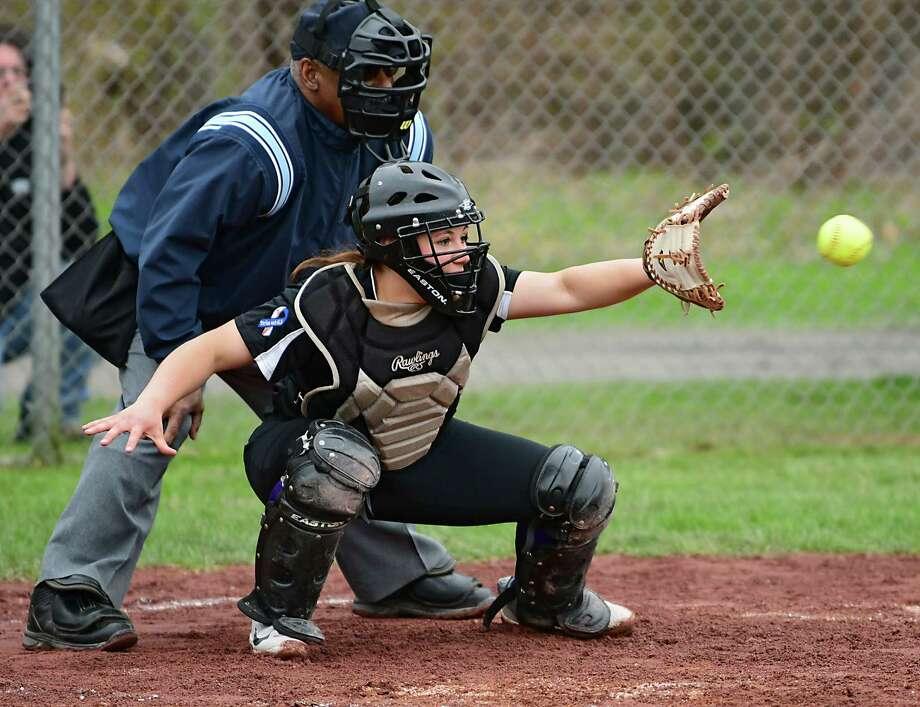 Ballston Spa's Ange Stile catches a pitch during a softball game against Averill Park on Tuesday, April 30, 2019 in Averill Park, N.Y. (Lori Van Buren/Times Union) Photo: Lori Van Buren / 40046740A