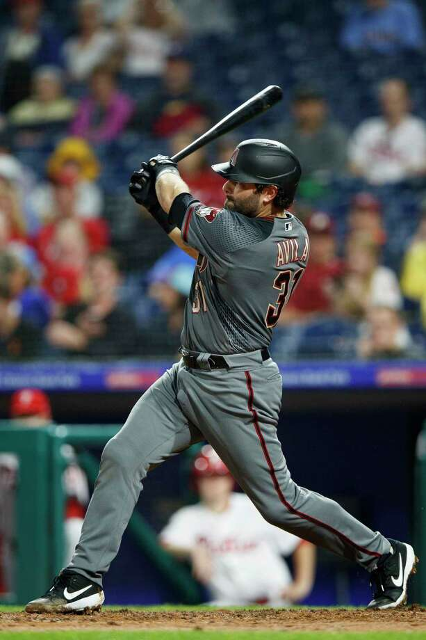 Arizona Diamondbacks' Alex Avila follows through on a two-home run off Philadelphia Phillies starting pitcher Jerad Eickhoff during the fourth inning of a baseball game, Monday, June 10, 2019, in Philadelphia. (AP Photo/Matt Slocum) Photo: Matt Slocum / Copyright 2019 The Associated Press. All rights reserved
