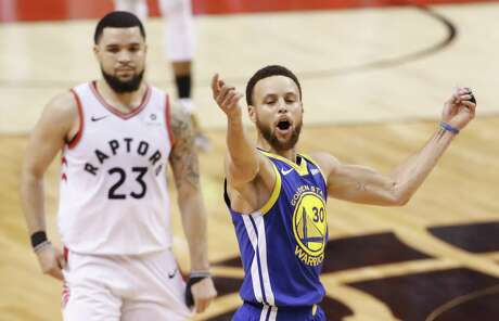 Golden State Warriors' Stephen Curry reacts in the fourth quarter during game 5 of the NBA Finals between the Golden State Warriors and the Toronto Raptors at Scotiabank Arena on Monday, June 10, 2019 in Toronto, Ontario, Canada.
