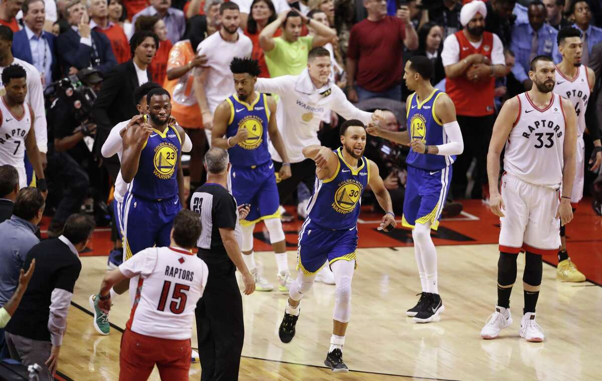 Golden State Warriors' Stephen Curry reacts as the Warrior's defeated the Raptors 106 to 105 in game 5 of the NBA Finals between the Golden State Warriors and the Toronto Raptors at Scotiabank Arena on Monday, June 10, 2019 in Toronto, Ontario, Canada.