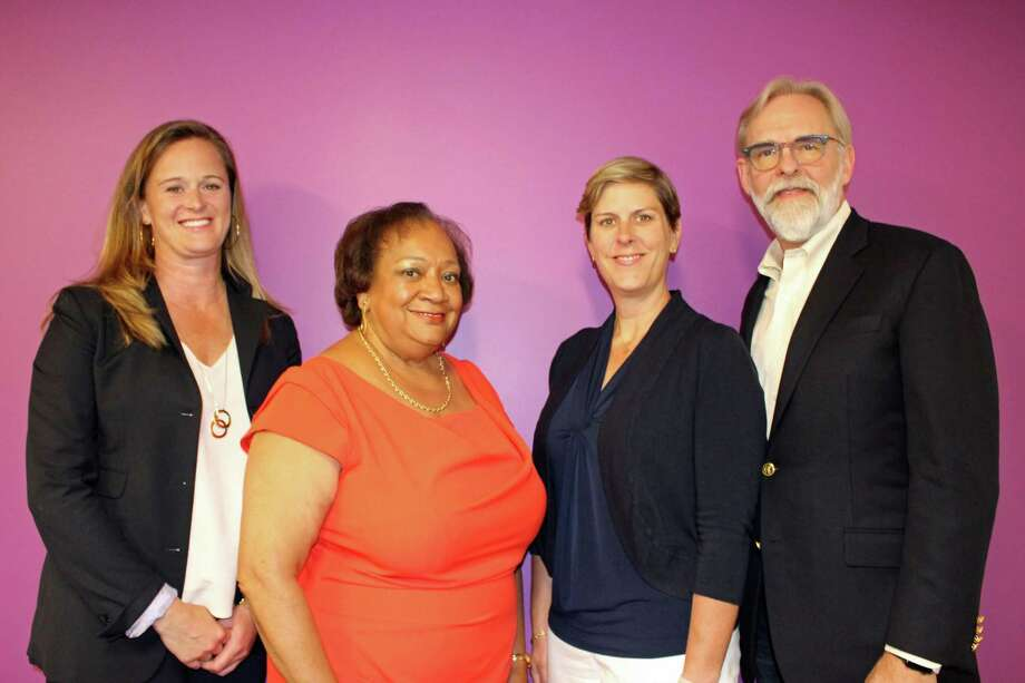 Ritter Family Foundation Executive Director Kate Ritter, Fairfield County's Community Foundation President and CEO Juanita James, Norwalk ACTS CEO Jennifer Barahona and BeFoundation Executive Director Richard Wenning announced the creation of the Collective Impact Opportunity Fund, June 6, 2019, in Norwalk, Conn. Photo: Contributed /