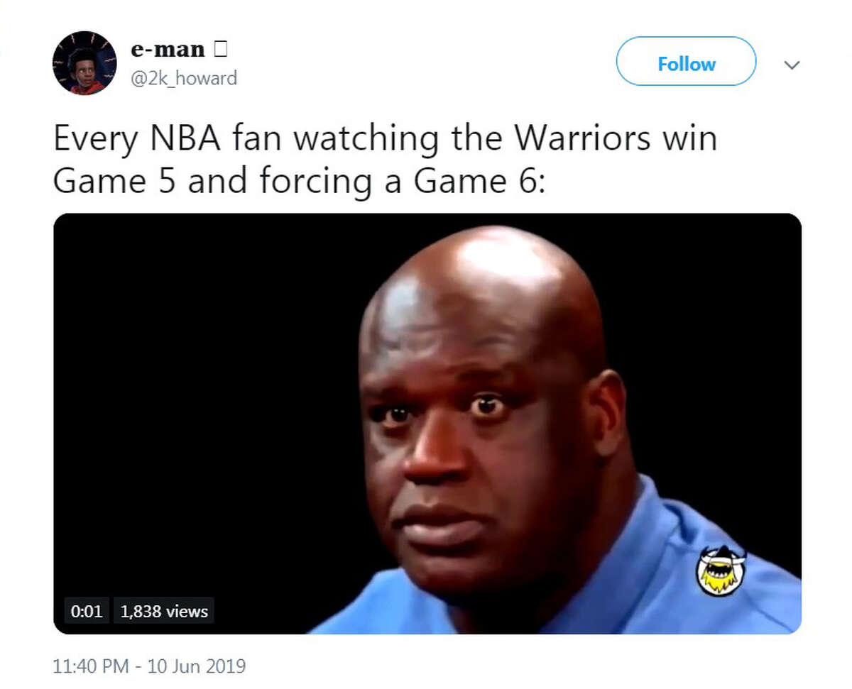 PHOTOS: Keep going to see the best Twitter reaction to the Warriors' Game 5 win The best memes and Twitter reactions after the Warriors beat the Raptors in Game 5 of the NBA Finals on Monday night in Toronto.