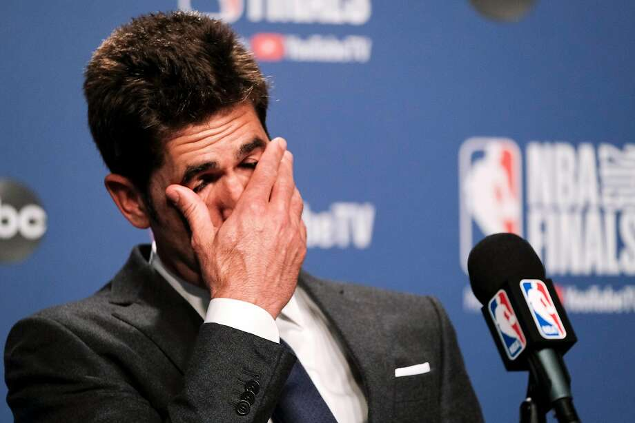 Bob Myers Golden State Warriors' president of basketball operations speaks about Kevin Durant's injury after game 5 of the NBA Finals between the Golden State Warriors and the Toronto Raptors at Scotiabank Arena on Tuesday, June 11, 2019 in Toronto, Ontario, Canada. Photo: Yader Guzman, The Chronicle