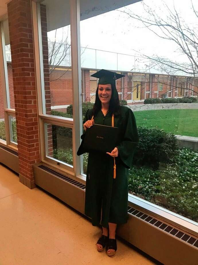 Jessica Fraley of Midland recently spoke at her Delta College commencement ceremony. (Photo provided)