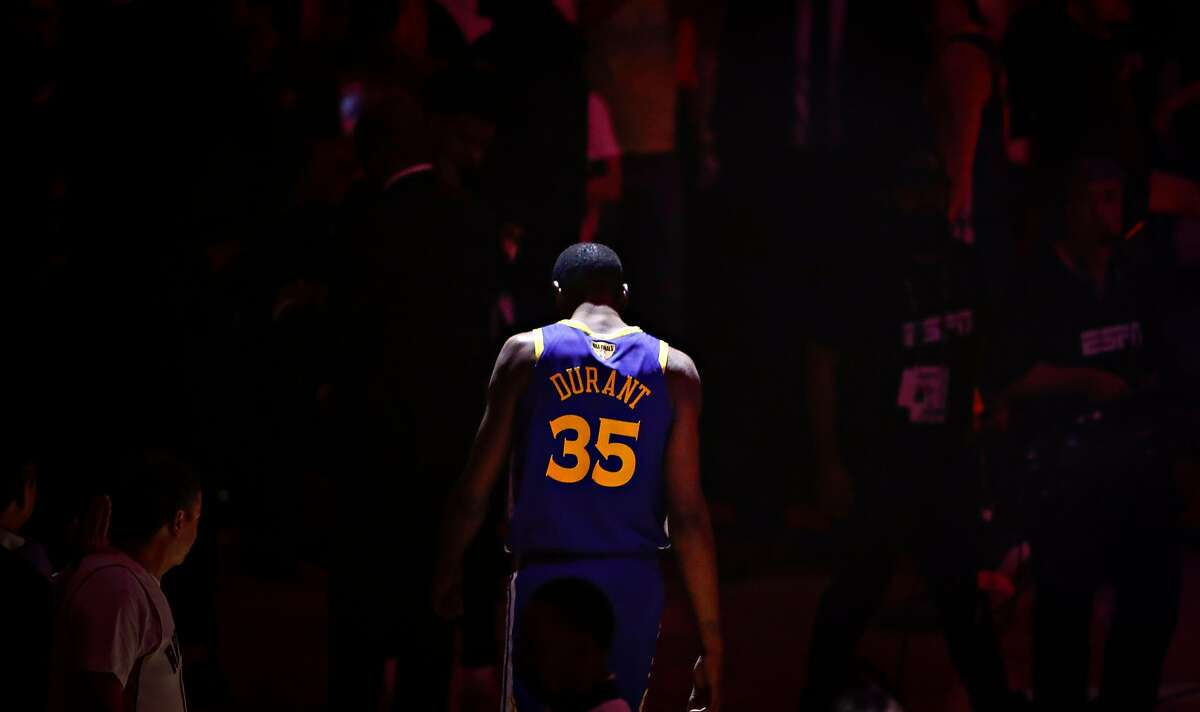 Kevin Durant before game 5 of the NBA Finals between the Golden State Warriors and the Toronto Raptors on June 10, 2019 in Toronto.