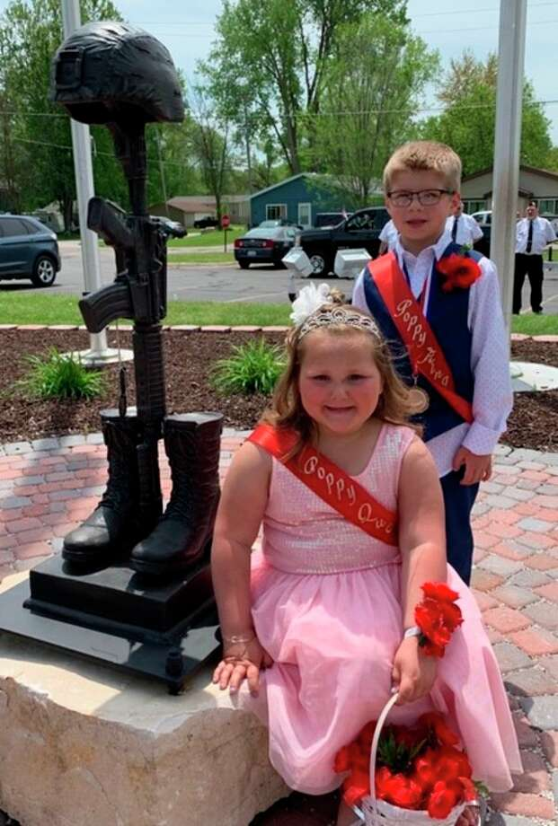 Pierson Roebuck, 6, and Leyna Molski, also 6, were selected as the Poppy King and Queen representing the Sanford American Legion and Auxiliary Post 443 in the Memorial Day parade and program at the Sanford Flag Memorial on Memorial Day. (Photo provided)