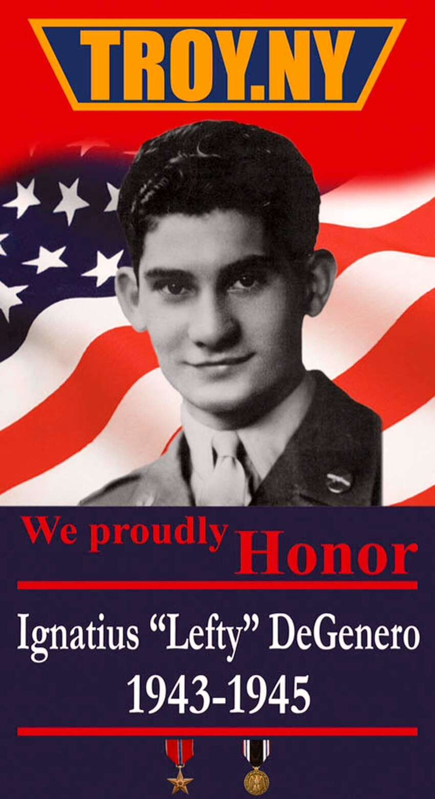A banner honoring WWII vet and former POW Ignatius
