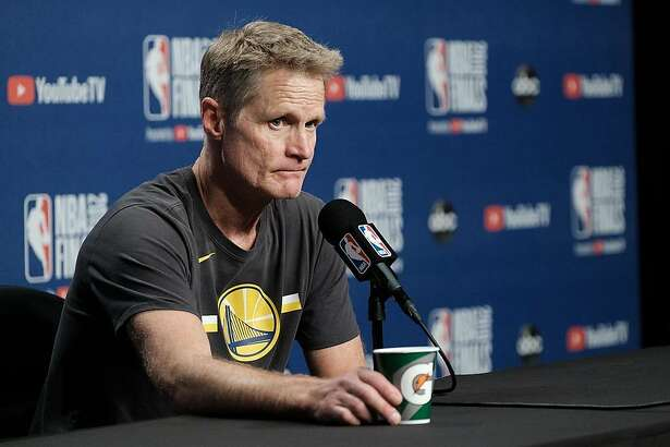 Warriors head coach Steve Kerr takes questions from the media after the Warriors 106-105 win in game 5 at Scotiabank Arena on Tuesday, June 11, 2019 in Toronto, Ontario, Canada.
