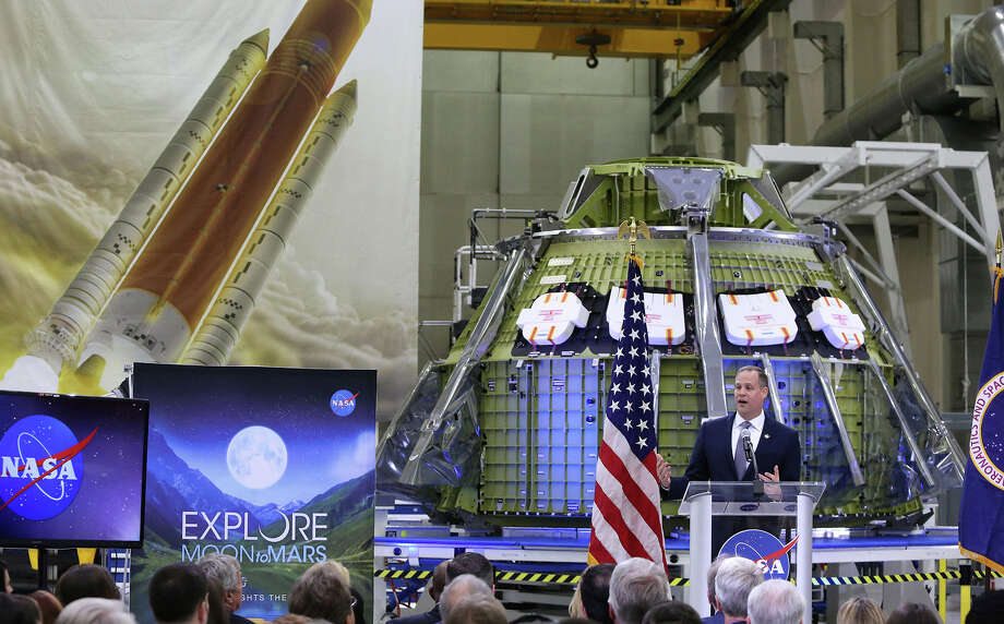 NASA administrator Jim Bridenstine delivers remarks during a NASA presentation on plans for the moon and Mars missions being submitted in fiscal year 2020, during a press conference on  Monday, March 11, 2019 at Kennedy Space Center. Photo: Joe Burbank/Orlando Sentinel