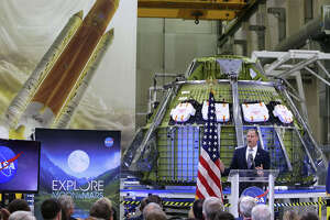 NASA administrator Jim Bridenstine delivers remarks during a NASA presentation on plans for the moon and Mars missions being submitted in fiscal year 2020, during a press conference on  Monday, March 11, 2019 at Kennedy Space Center.