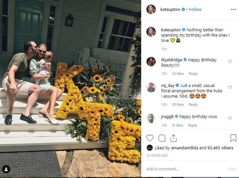"Upton posed with Verlander and their seven-month-old baby, Genevieve, on the veranda their vacation abode. The trio is seated next to her name spelled out in large letters covered in bright yellow sunflowers.   Upton captioned the photo, ""Nothing better than spending my birthday with the ones I love."" Photo: Instagram"