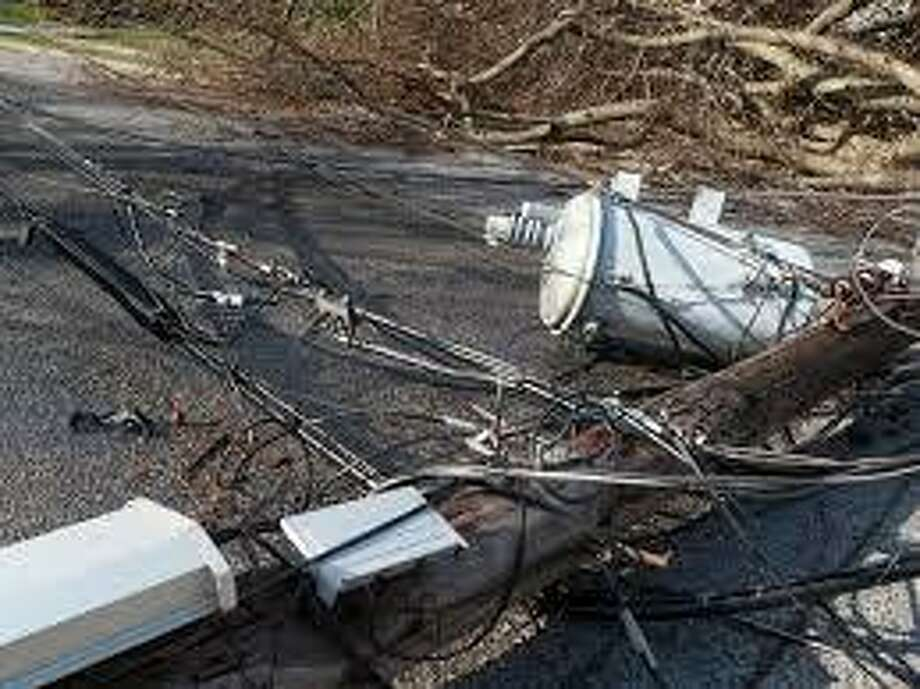 Route 37 is closed in both directions at Haviland Hollow Road due to a downed tree and electrical wires across the road. Photo: Courtesy Of The Town Of New Fairfield Facebook Page