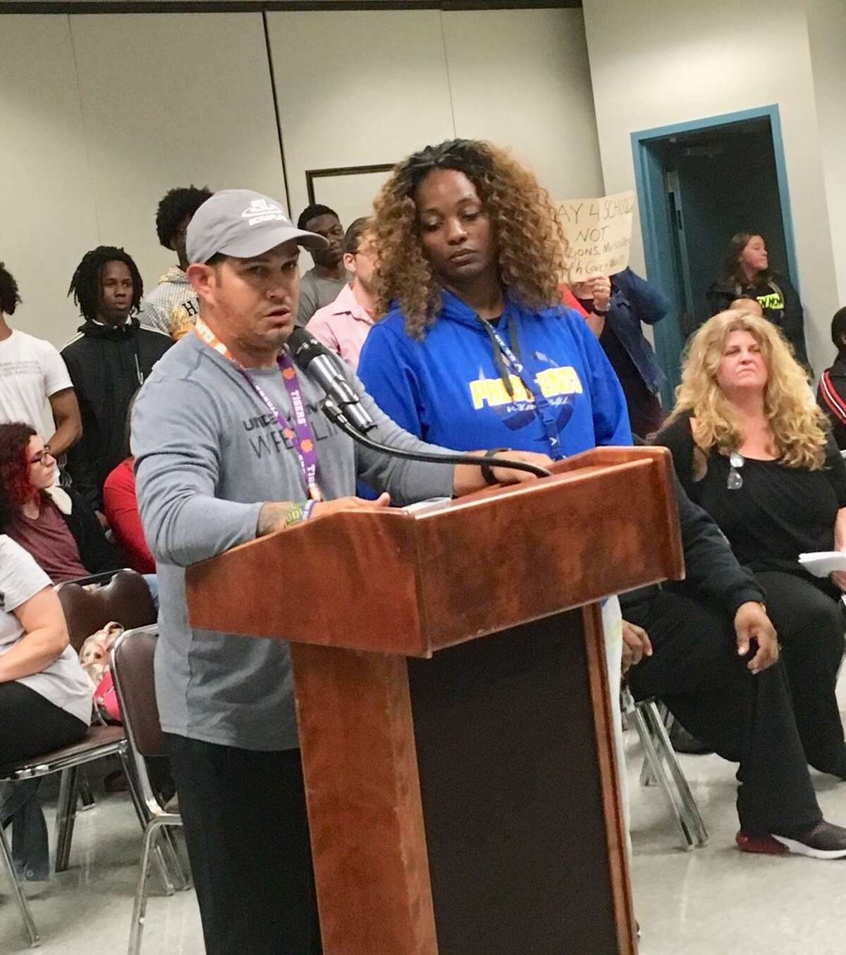 Coaches Eddie Santiago and LaDonna Bigelow address Bridgeport Board of Education. June 10, 2019