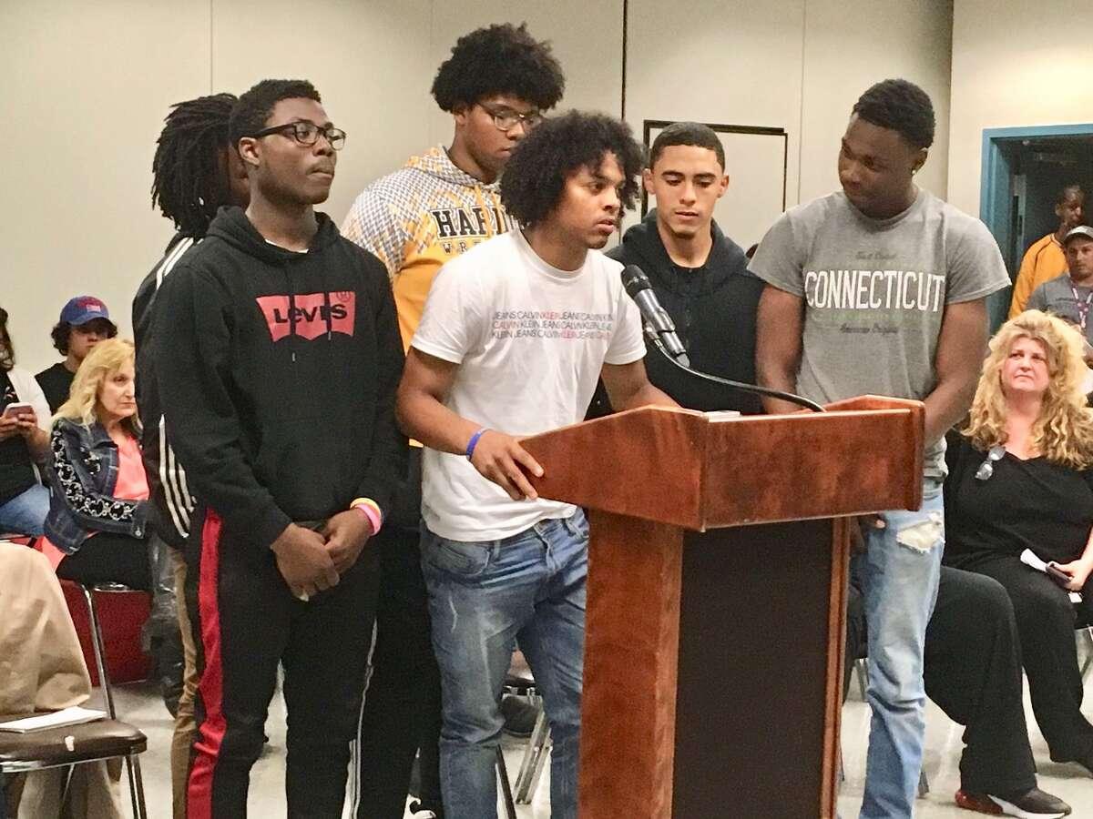 Harding football players address Bridgeport Board of Education. June 10, 2908