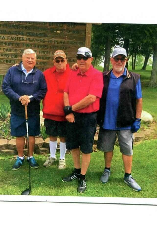 From left, Ron Monson is shown with his playing partners Lee Wyse, Terry Monson and Buck Ballard after shooting a double eagle, or albatross, on Thursday, May 23 at Gladwin Heights Golf Course.