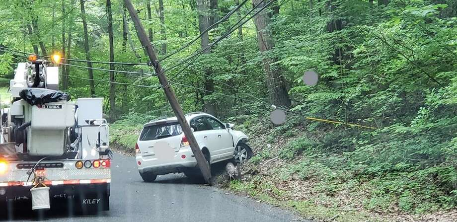 A driver struck and dislodged a telephone pole on North Street. Photo: Courtesy Of The Easton EMS Facebook Page
