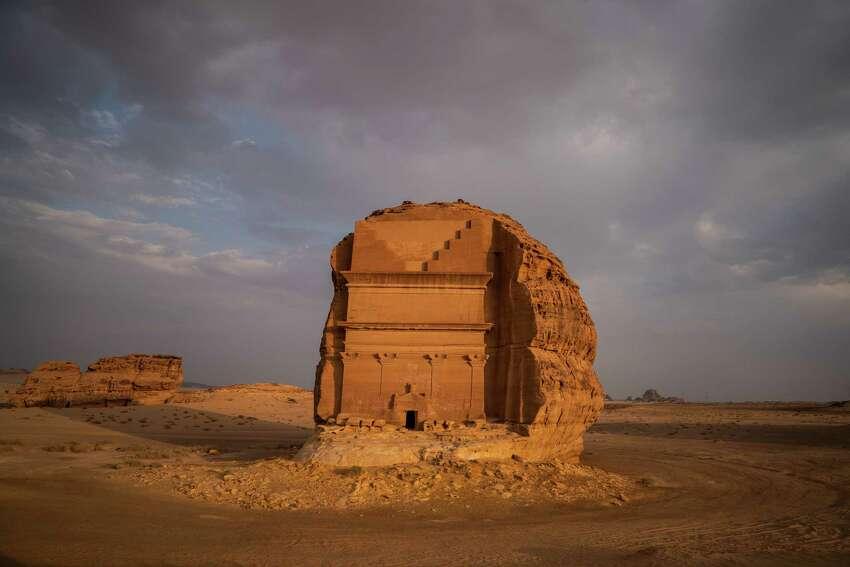 Qasr al-Farid, an unfinished tomb in Madain Saleh that was built by the Nabataean people, is seen in September 2018, in Al Ula, Al Madinah region, Saudi Arabia.