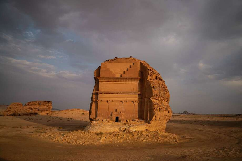 Qasr al-Farid, an unfinished tomb in Madain Saleh that was built by the Nabataean people, is seen in September 2018, in Al Ula, Al Madinah region, Saudi Arabia. Photo: Washington Post Photo By Salwan Georges / The Washington Post