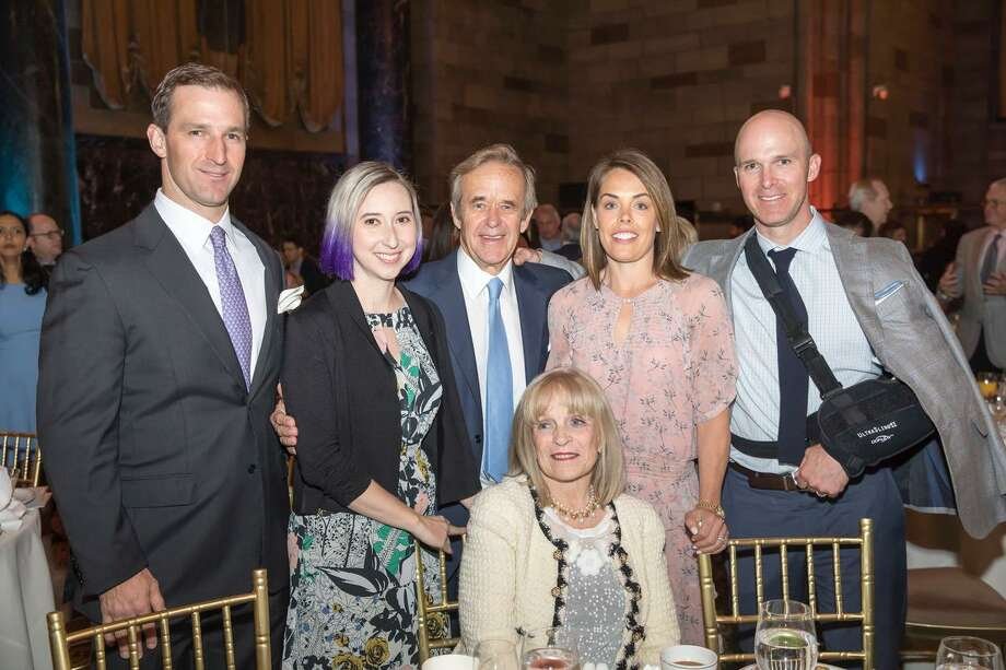 From left, WRRE Co-President Ryan Raveis, Dr. Jessie Brown, WRRE Chairman/CEO Bill Raveis, William Raveis Charitable Fund Managing Director Meghan Raveis, WRRE Co-President Chris Raveis, Candy Raveis (seated). Photo: Contributed Photo / © James Petrozzello All Rights Reserved