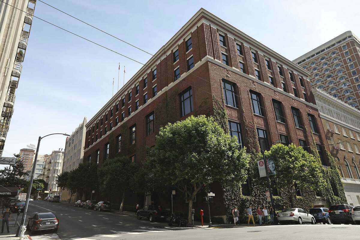 An exterior view is seen of the Bohemian Club's home Monday, June 10, 2019, in San Francisco. An elite Northern California men's retreat hosted by the exclusive Bohemian Club is facing scrutiny for excluding women. This comes after female supervisors from Sonoma County questioned whether they should allow sheriff's deputies to provide security for the event, which the supervisors say discriminates against women. While women can enter the club's San Francisco headquarters, they are barred from the annual July encampment where men reportedly relax and perform skits. (AP Photo/Samantha Maldonado)