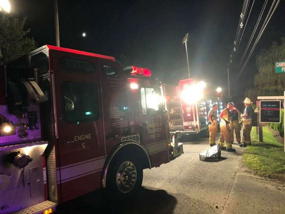 Brookfield fire and EMS responded to a motor vehicle accident in the area of 257 Candlewood Lake Road Friday night, where they found an unresponsive, entrapped driver, who was later pronounced dead. Photo: Brookfield Volunteer Fire Department / Facebook