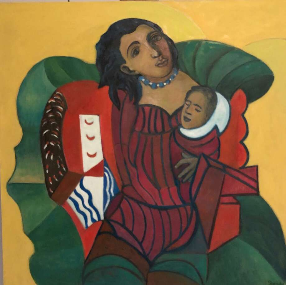 "The Mayor's Gallery in Stamford is hosting Marina Shrady's ""Beyond Boundaries,"" an eclectic selection of inspired contemporary oil paintings, July 1-Aug. 30. Pictured is ""Mother and Child."" Photo: Mayor's Gallery / Contributed Photo"