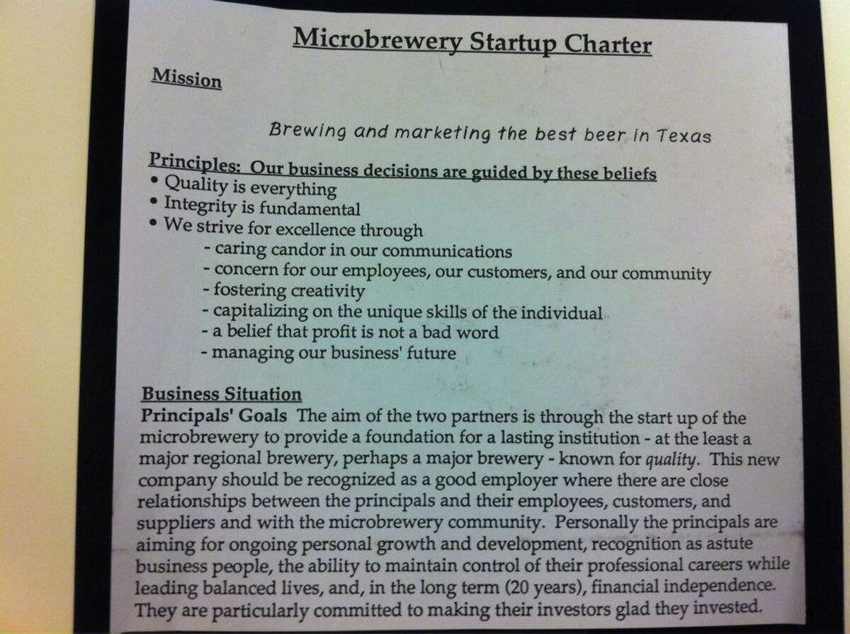 The startup charter when the company first opened in 1994
