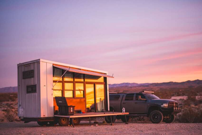 Southington: Off-Grid Tiny House on Wheels made on HGTV Dimensions:196 sq. ft., 18'x8'x13' Mobile: Yes Features:1 loft, 1 bathroom, shower sink, composting toilet, 640 watts of solar panelling